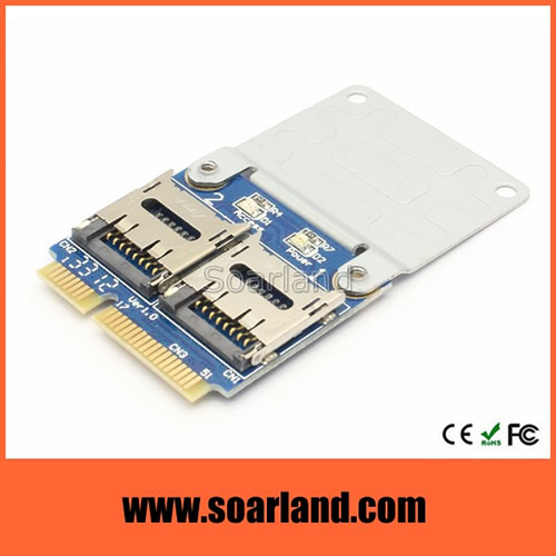 Dual micro SD to mini PCIe Adapter