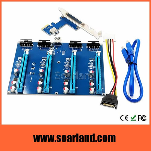PCIe x1 to 4 ports x16 Multiplier Card