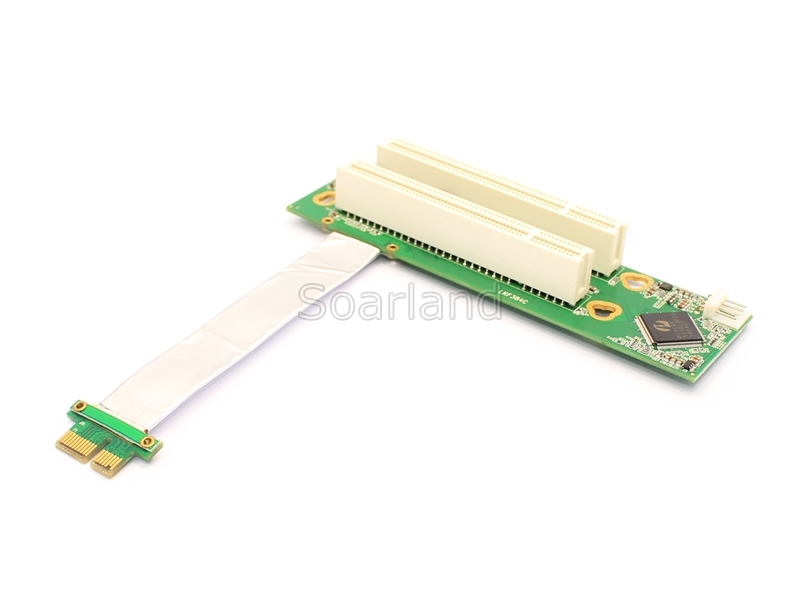 PCIe to Dual PCI Adapter with silver cable