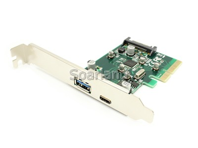USB 3.1 Type-C + Type-A PCIe x4 Card