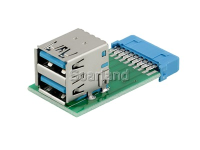19 Pin USB 3.0 to 2-Port Type-A Adapter